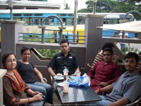 Chairing a conference outside Café Coffee Day (CCD) Kormangala, Bangalore