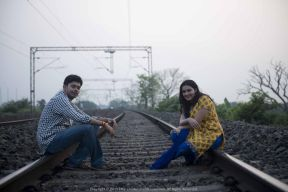 During a photo-shoot with Sutirtha at the prohibited rail track areas near Kolaghat