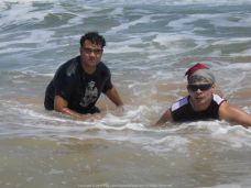 Gasping for breath as me and Aritra wrestled the massive waves at Puri Sea Beach