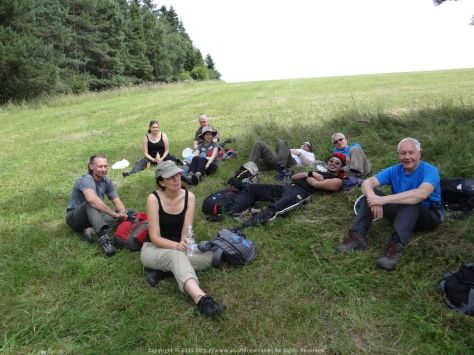 Getting comfy in the shade for a lunch pit stop during our 2015 hike in Slovakia