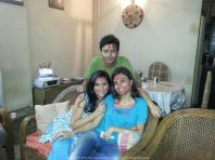 Holi with Sush and my sister Mimi... at Lake Town, Calcutta