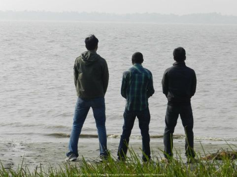 Holy shit! Lets not put a caption in this one With Shayan and Sudipta on the banks of a holy river ;)