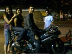 Biking (or maybe we should say posing) in Pondicherry at 2 AM in the night - With Kakoli, Sugandh and Puneet