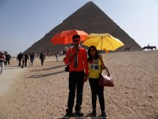Splash of Colours in the Sahara deserts in front of the mightly and mytical Egyptian Pyramids