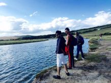 With Amit and Roop at the beautiful Seven Sister Cliffs in South England
