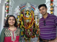 With my cousin sister Tua at the century-old home Durga Pujo @ Potuatola Lane, Kolkata