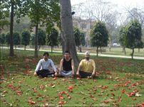 Yoga in the beautiful IMT Ghaziabad lawns with Samrath and Siddharth
